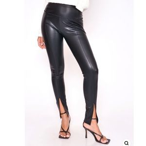 Black leather high waisted slit front vegan faux leather leggings M Boutique